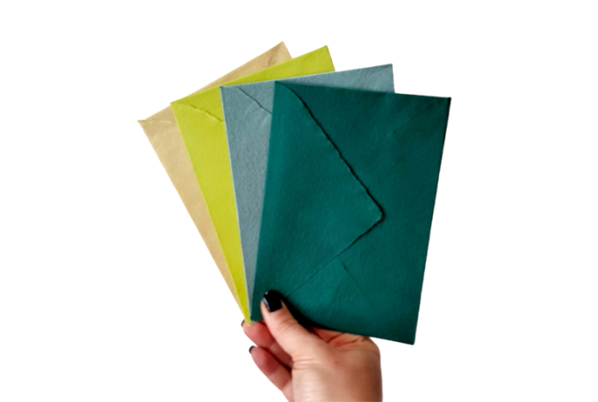 Hand Made envelopes Green Collection
