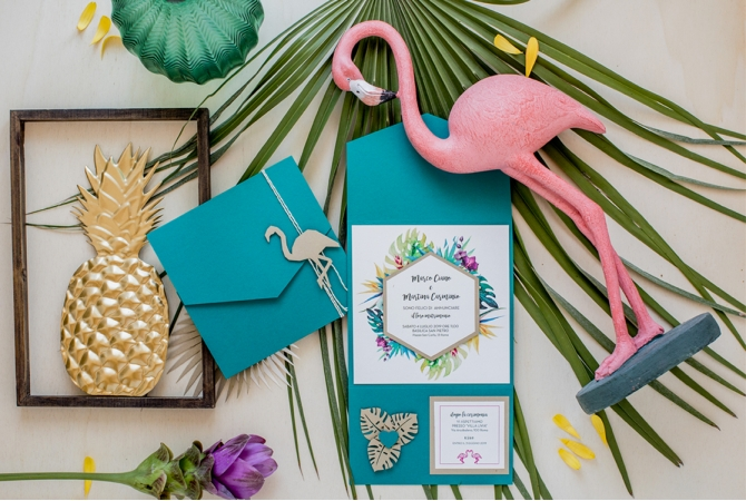 Wedding Invitation Flamingo in a Jungle