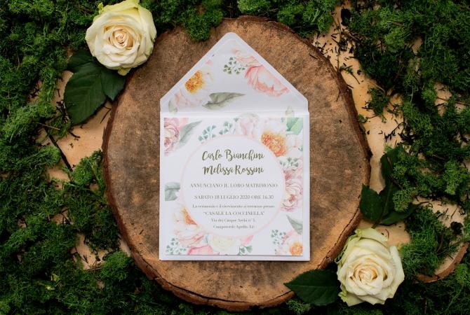 Wedding Invitation Rose in Garden
