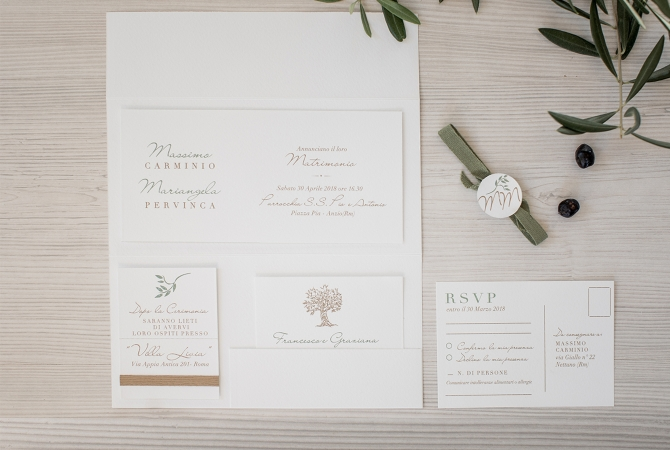 Wedding Invitation Olive leaves