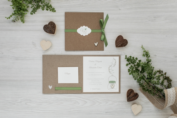 Wedding Invitation Wood Heart